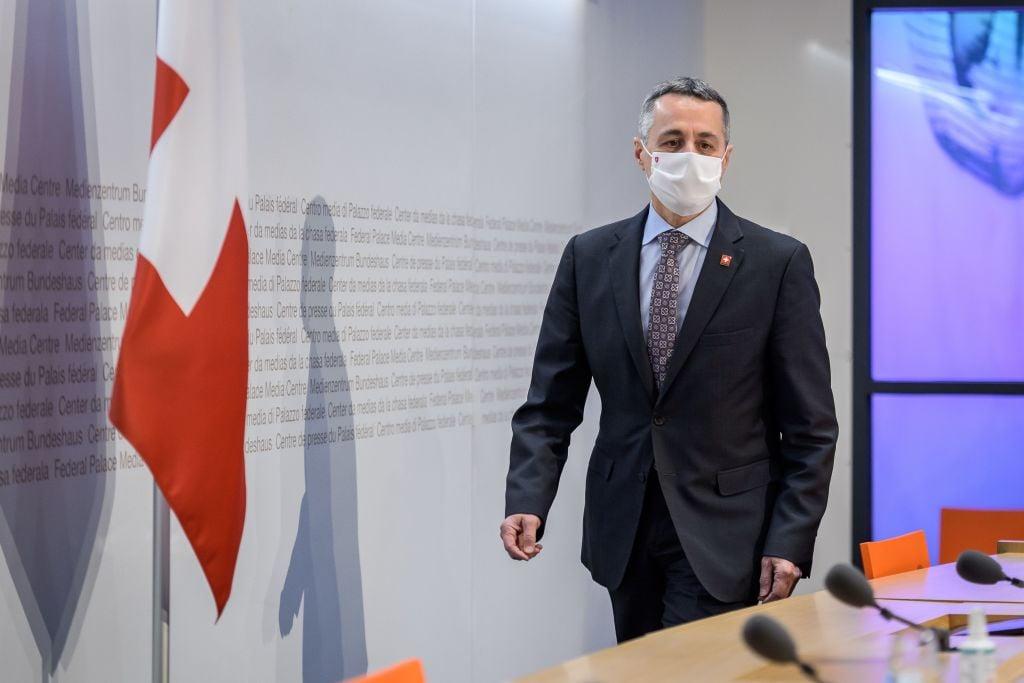 3月21日瑞士外交部長卡西斯在接受瑞士《新蘇黎世報》採訪時說,瑞士將更加嚴格地批評中共的人權問題。(FABRICE COFFRINI/AFP via Getty Images)