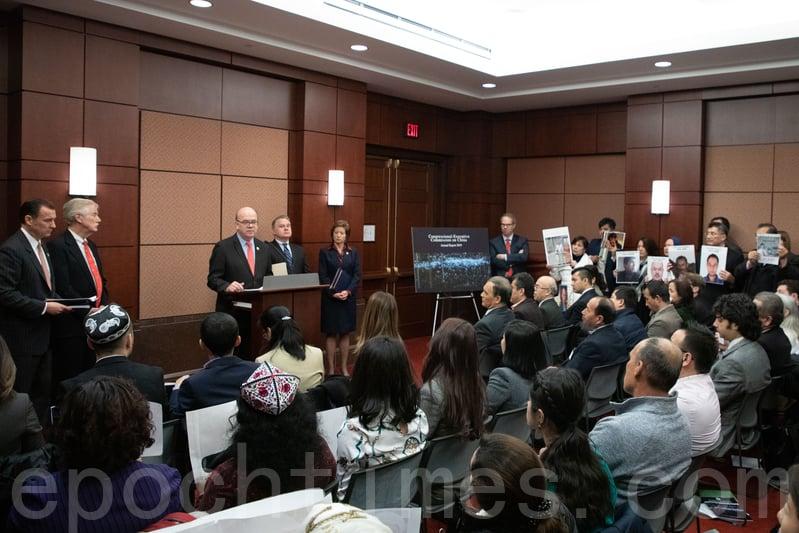 1月8日,美國國會及行政當局中國委員會(CECC)發佈2019年度報告,多位參眾議員出席發佈會。(林樂予/大紀元)
