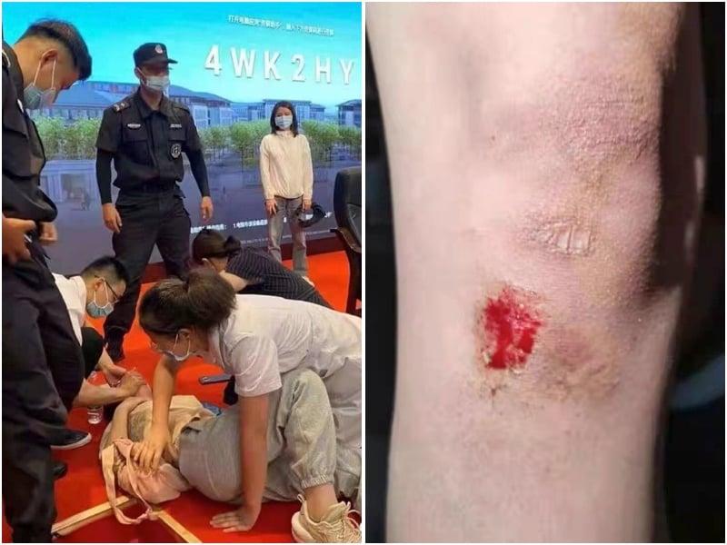 江蘇南師大抗議學生遭警方毆打。(受訪者提供,大紀元合成)