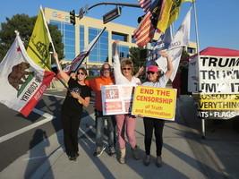 加州民眾在谷歌樓前集會 抗議言論審查