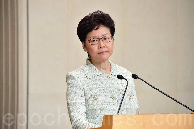 圖為2019年10月15日,林鄭月娥召開記者會。(郭威利/大紀元)