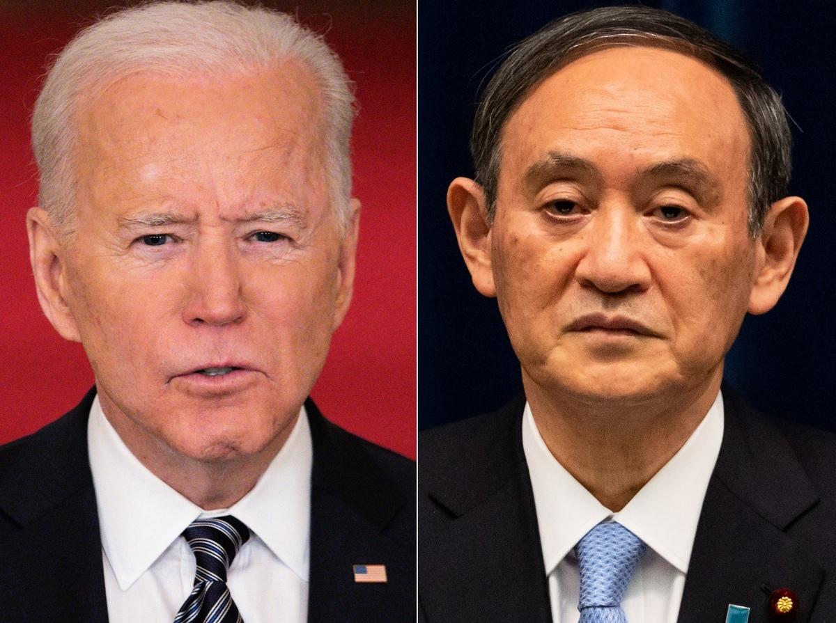 圖為美國總統拜登和日本首相菅義偉。(Photo by MANDEL NGAN,YUICHI YAMAZAKI/POOL/AFP via Getty Images)