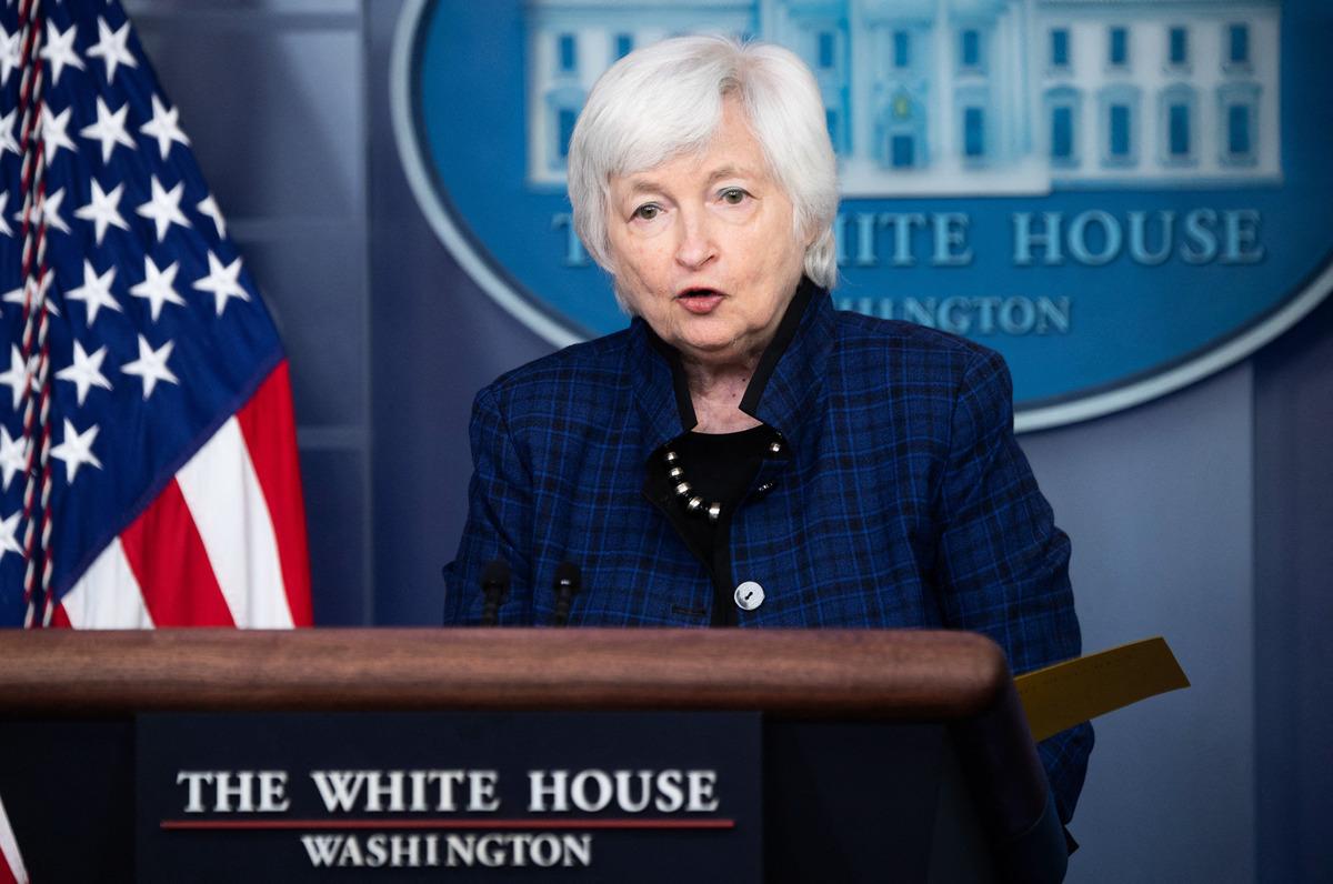 2021年5月7日,美國財政部長珍妮特·耶倫(Janet Yellen)在白宮簡報室出席新聞發佈會。(SAUL LOEB/AFP via Getty Images)