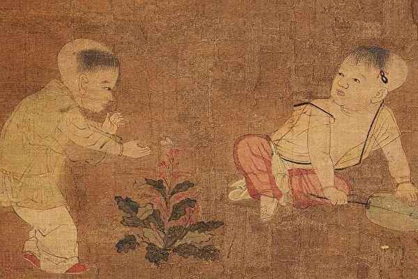 原來,谷娃是記得前三世的人,出生以後甚麼都明白,只是不敢說話。宋蘇漢臣《嬰戲圖頁》,天津市博物館藏。(公有領域)