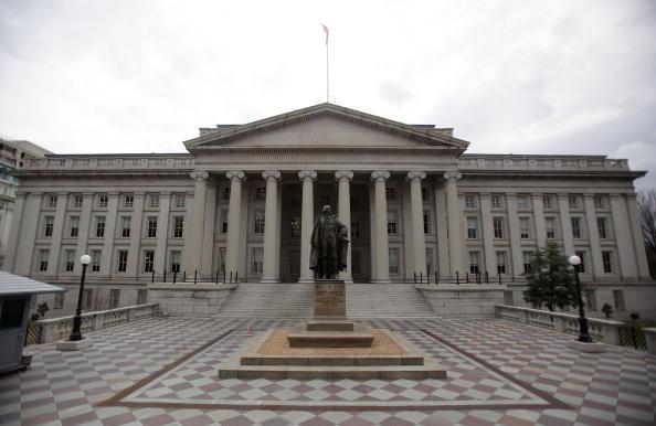 圖為位於華盛頓的美國財政部。(Getty Images)