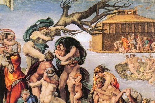 米開朗基羅的作品《大洪水》局部圖(The Deluge),繪於梵蒂岡的西絲汀教堂。(公有領域)