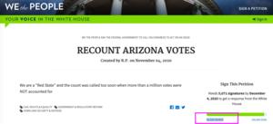網友發起白宮請願聯署 要求重計亞利桑那州選票