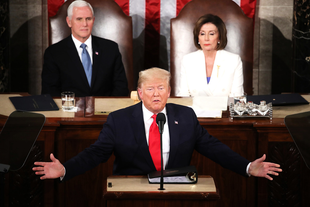 美國總統特朗普2月4日晚間在國會聯席會議上發表第三次國情咨文講話,主題為「偉大的美國復興」。 (Mark Wilson/Getty Images)