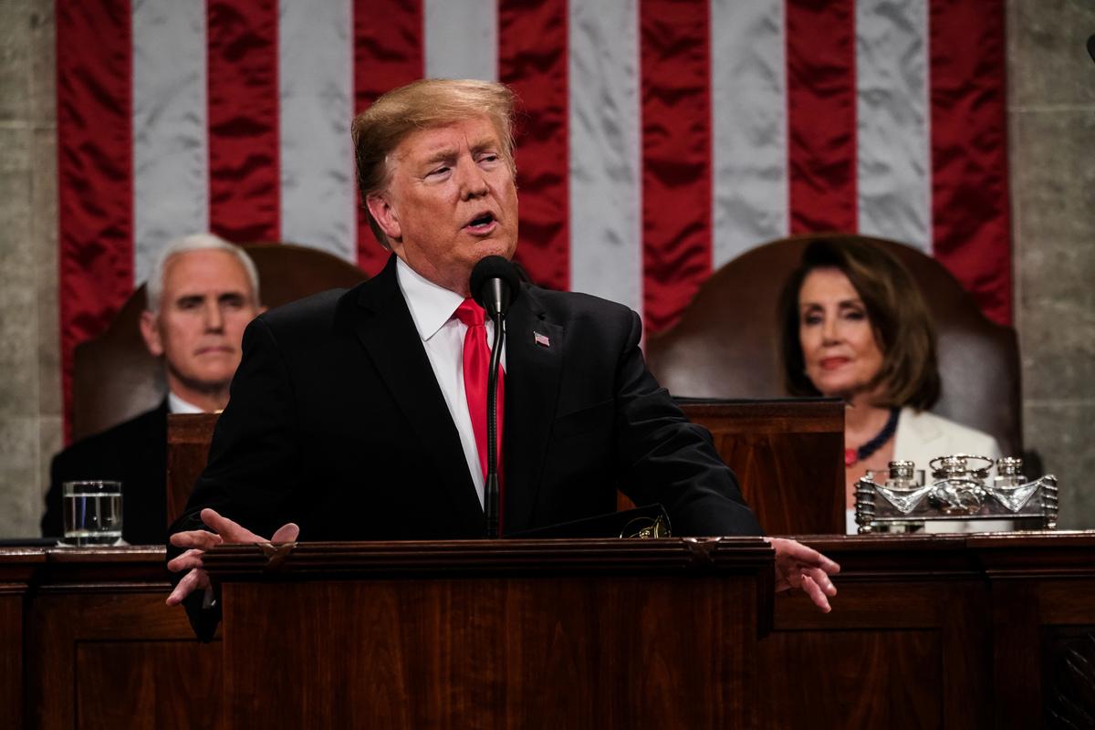 美東時間周二(2月5日)晚間,美國總統特朗普發表其任內的第二個國情咨文演講。(Doug Mills-Pool/Getty Images)
