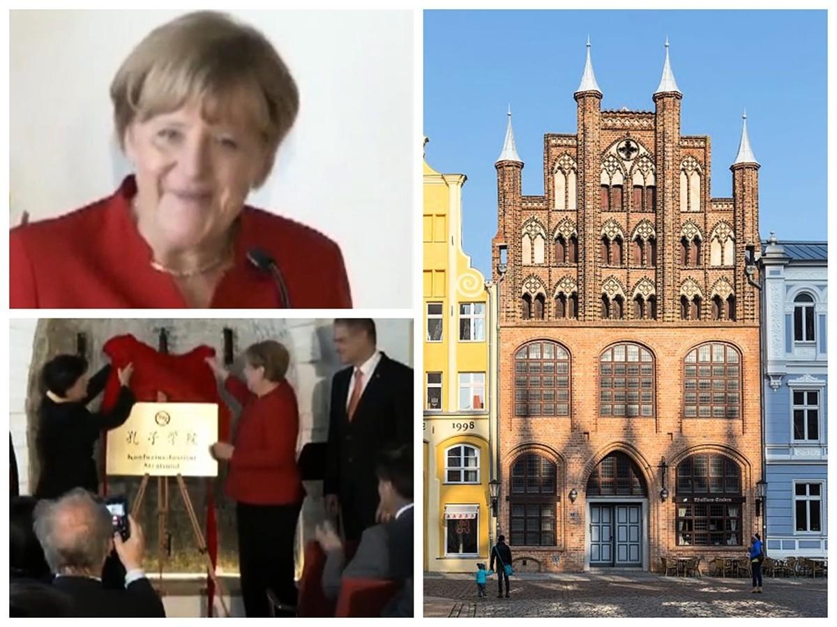 2016年8月30日,德國總理默克爾為施特拉爾松德孔子學院揭幕致詞。該學院的辦公地點設在歷史建築物「武爾夫拉姆屋」內(右圖)。(左圖來源於影片截圖)
