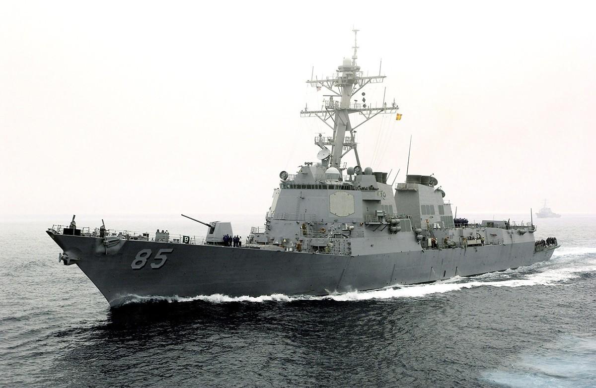 在台灣總統就職典禮前一周,美國海軍派出導彈驅逐艦麥坎貝爾號在台海執行航行任務。圖為麥坎貝爾號。(Konstandinos Goumenidis/U.S. Navy via Getty Images)