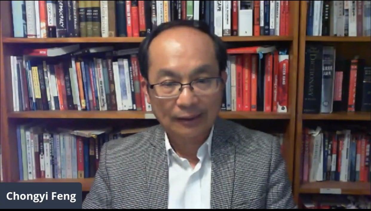 2021年7月12日晚,澳洲中國問題學者、馮崇義教授在「辨識假消息 求真相」網絡研討會上發言表示,中共政權利用宣傳和統戰,滲透國際社會。(網絡會議影片截圖)