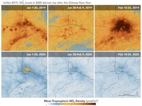 NASA圖片顯示新冠疫情下因經濟放緩,中國空氣污染明顯改善。