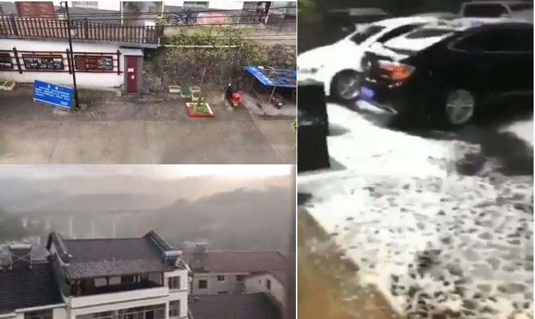 湖北宜昌、四川攀枝花亦下大冰雹。(影片截截圖合成)