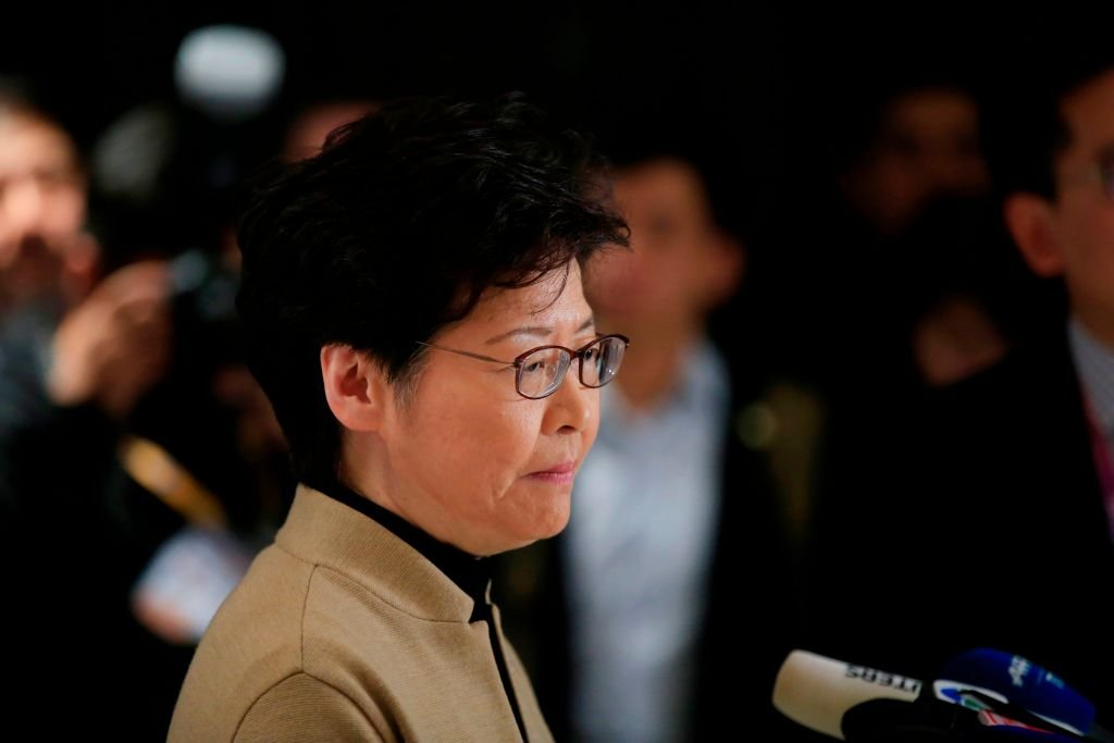 11月5日,林鄭在上海的記者會上。(ALY SONG/AFP)