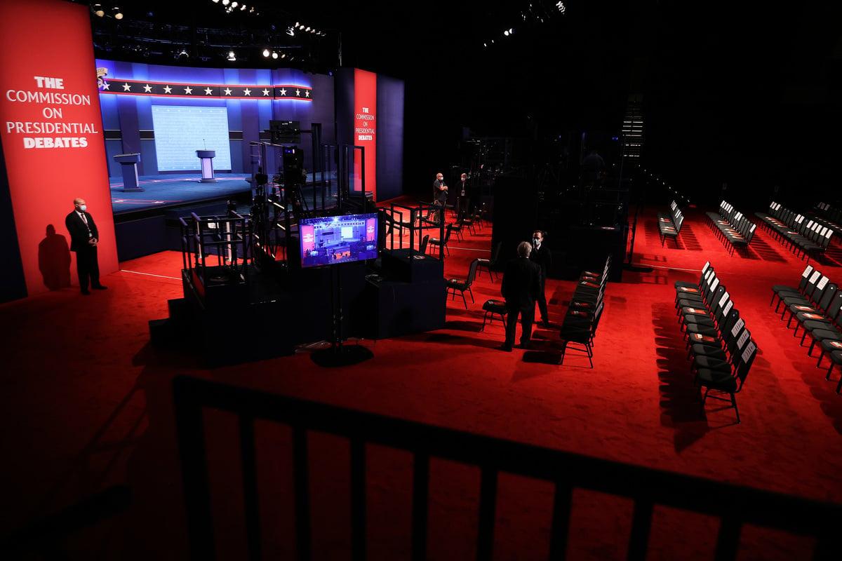 10月22日晚上,美國田納西州納什維爾的貝爾蒙特大學(Belmont University)將舉行最後一場特朗普、拜登的競選辯論。(Chip Somodevilla/Getty Images)
