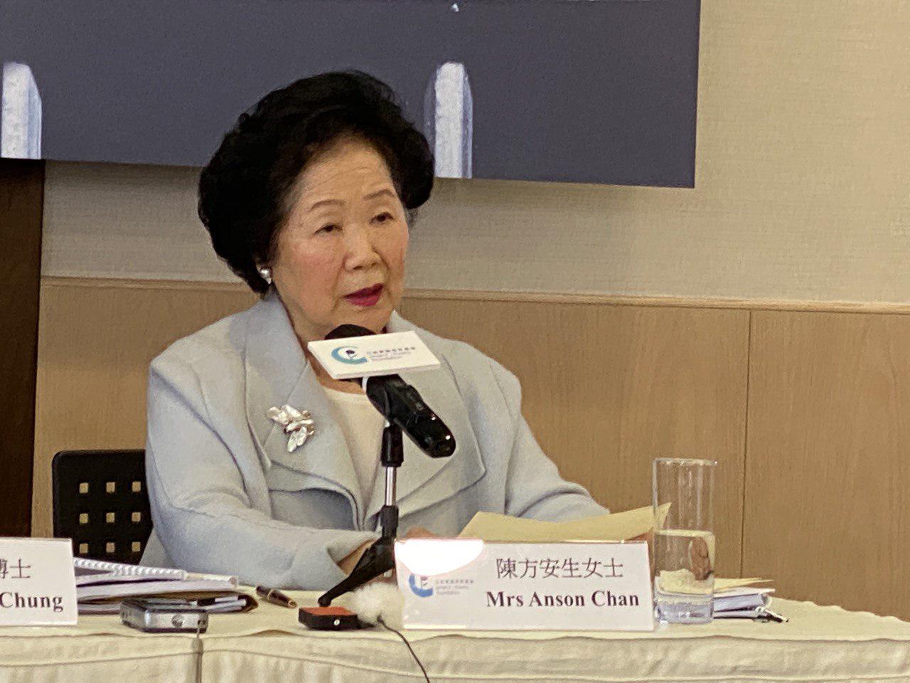 前政務司長陳方安生在反送中半年——民間民情報告媒體發佈會上致辭。(駱亞 / 大紀元)