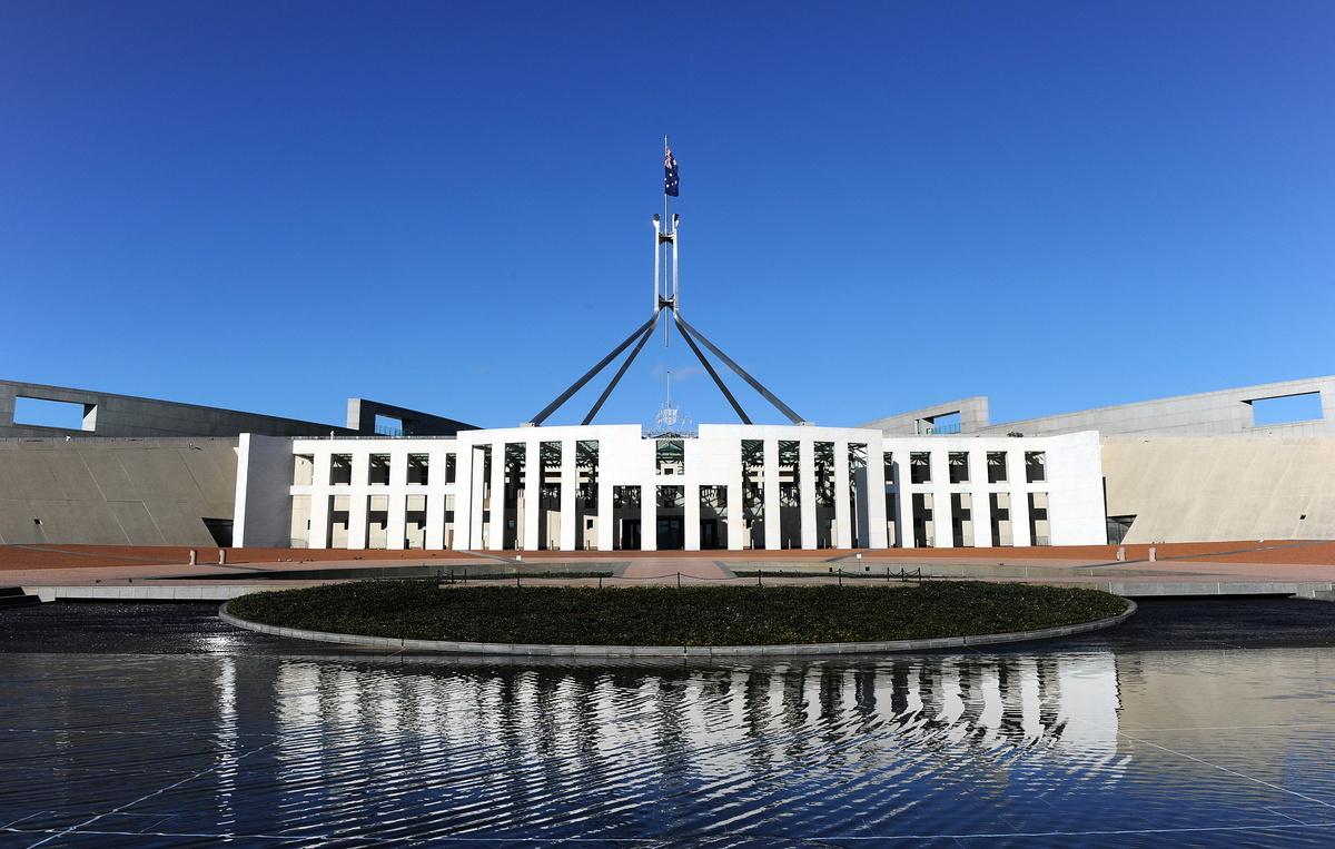 圖為澳洲國會大廈外景。(TORSTEN BLACKWOOD/AFP via Getty Images)