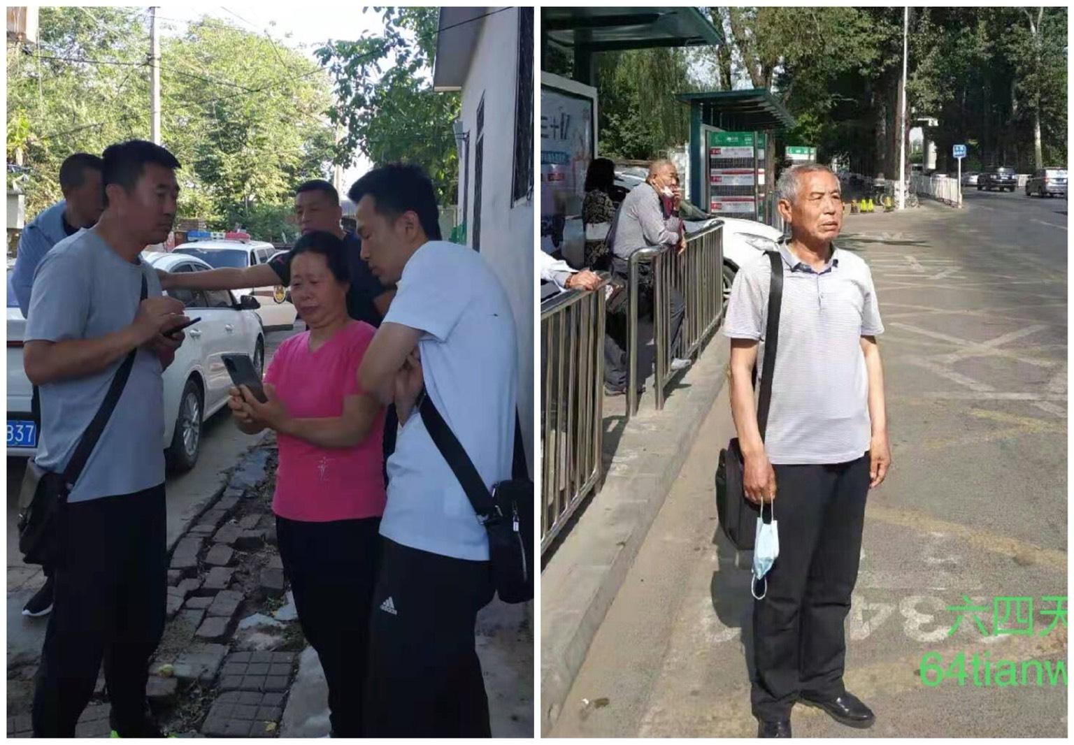 遼寧訪民姜家文2021年6月10日早上在北京租屋處被丹東地方警察和信訪局官員截回原籍。(64天網/大紀元合成)