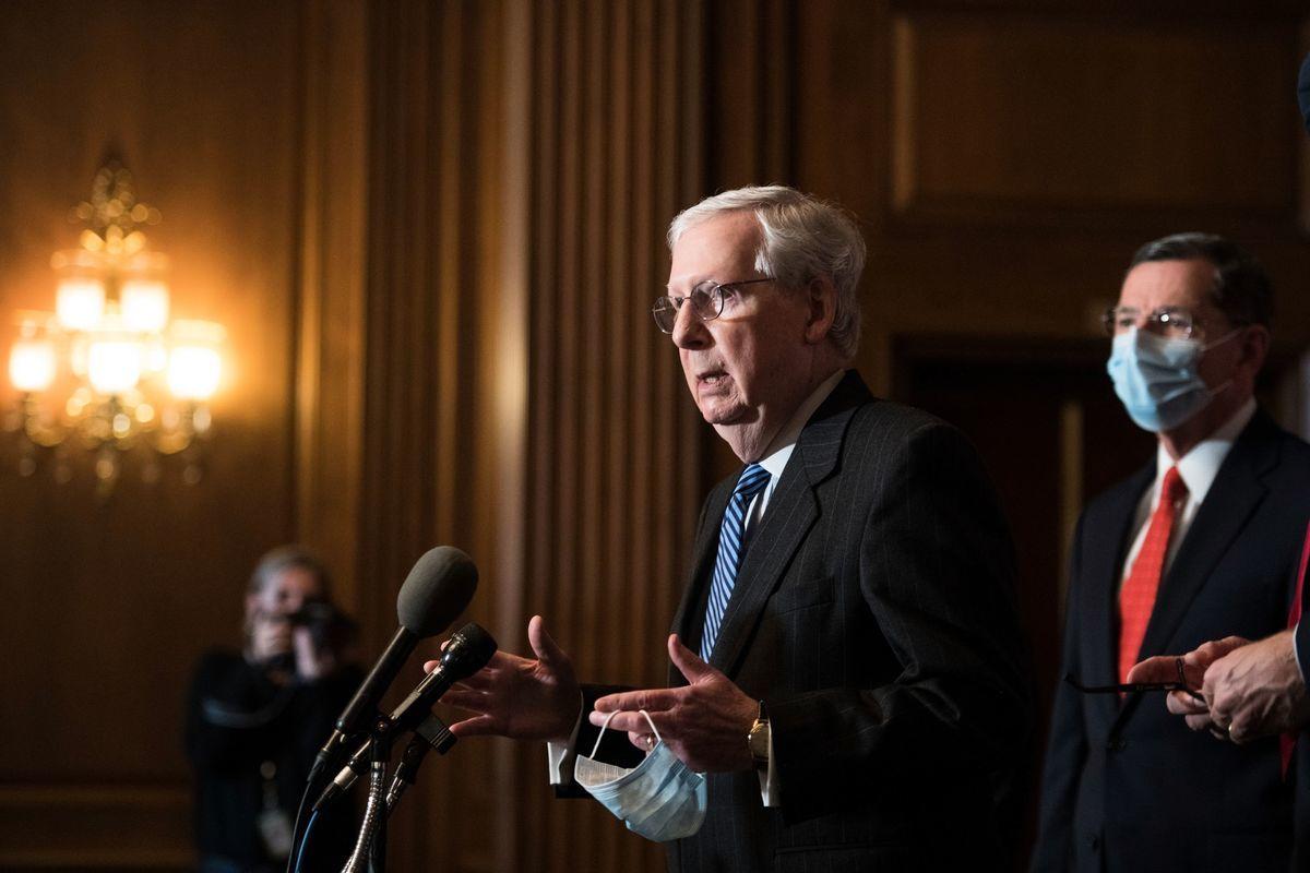 參議院少數黨領袖麥康奈爾(Mitch McConnell)。(ROD LAMKEY/POOL/AFP via Getty Images)