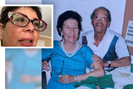 左上)珍妮絲2021年2月接受《大紀元時報》在線專訪時講述約瑟夫的經歷。(右)約瑟夫和太太莎拉。(珍妮絲·克拉夫提供)