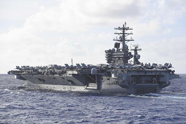 2020年6月28日,尼米茲號航母(CVN 68)駛入菲律賓海,先後與羅斯福號航母(CVN71)打擊群、列根號航母(CVN76)打擊群進行雙航母演習。列根號航母攜帶1000噸彈藥,也進入了戰備部署,美軍3大航母打擊群齊聚西太平洋。(美國海軍)