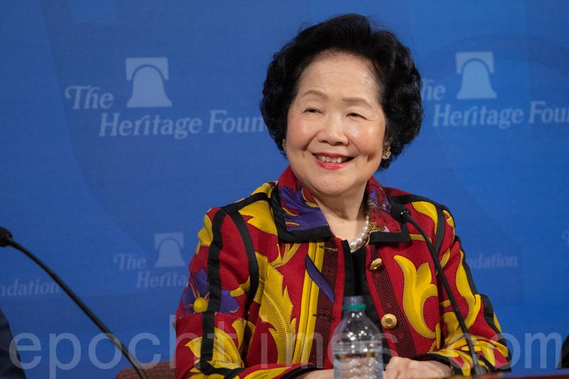 3月25日,香港前政務司司長陳方安生在華府智囊「傳統基金會」(Heritage Foundation)發表演講。(林樂予/大紀元)