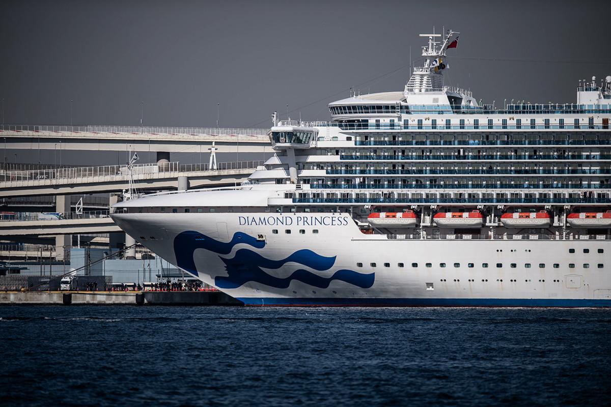 2020年2月10日,停泊在日本橫濱港的鑽石公主號遊輪。(Carl Court/Getty Images)