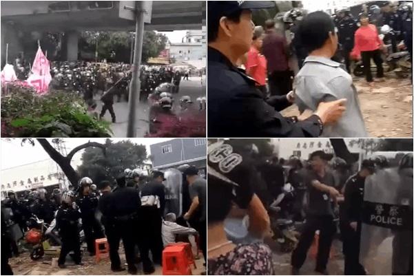 3月22日上午10時許,廣東佛山市順德區北滘鎮三洪奇村逾700名村民,為阻止當地政府佔用耕地施工,遭到600餘警鎮壓。(受訪者提供)