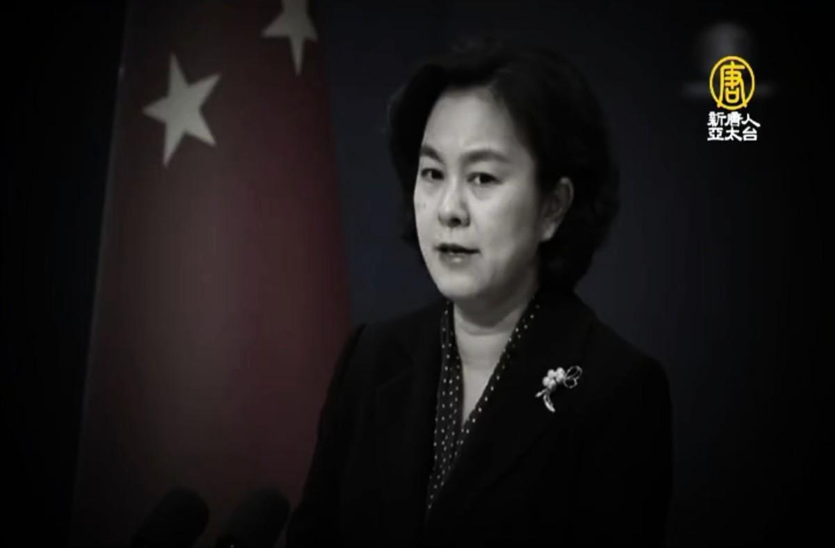 中共外交部發言人華春瑩。(新唐人電視台授權影片截圖)