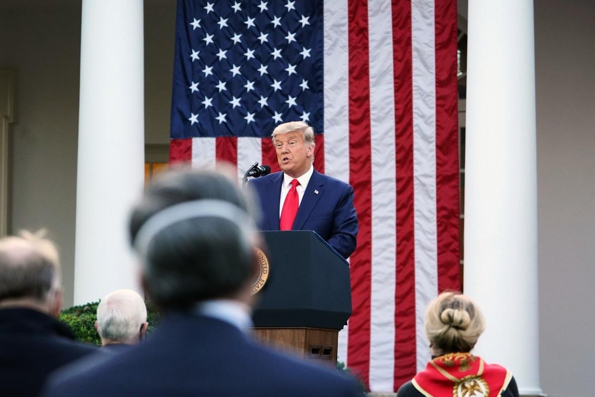 2020年11月13日,美國白宮,總統特朗普發表有關「神速行動」(Operation Warp Speed)的最新信息。(MANDEL NGAN/AFP via Getty Images)