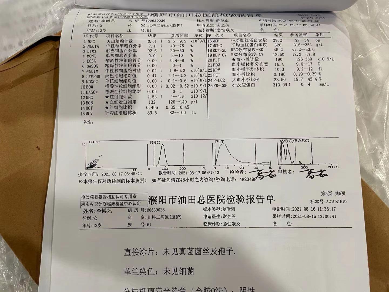 油田總院檢測結果顯示,粒細胞等項指標非常低。(蔣豔紅提供)