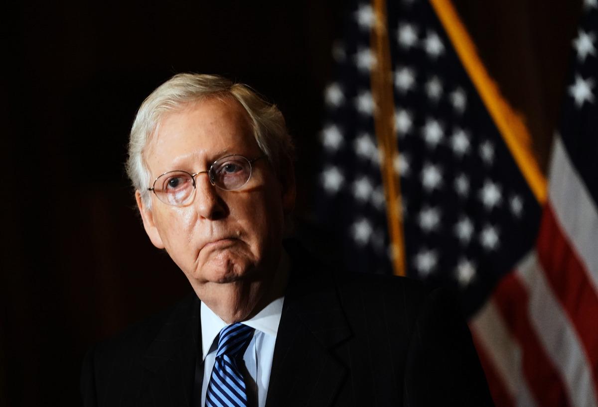 2020年12月8日,參議院多數黨領袖米奇·麥康奈爾(Mitch McConnell)國會大廈發表講話。 (Kevin Dietsch-Pool/Getty Images)