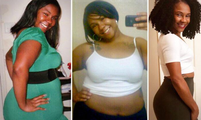 33歲的媽媽維多利亞·佈雷迪的減肥前後對比。(由維多利亞·佈雷迪提供)