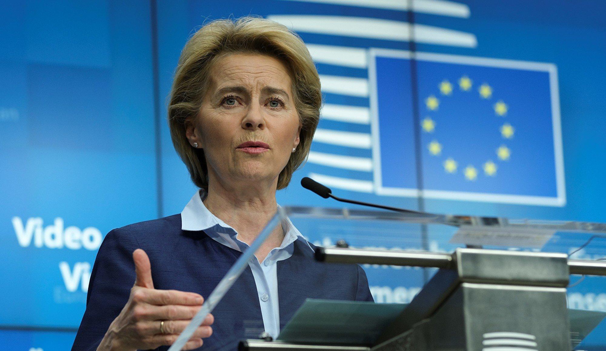 歐盟委員會主席烏爾蘇拉.馮德萊恩(Ursula von der Leyen)支持對中共病毒起源進行深入調查。圖為 (Photo by Olivier HOSLET / EPA / AFP)