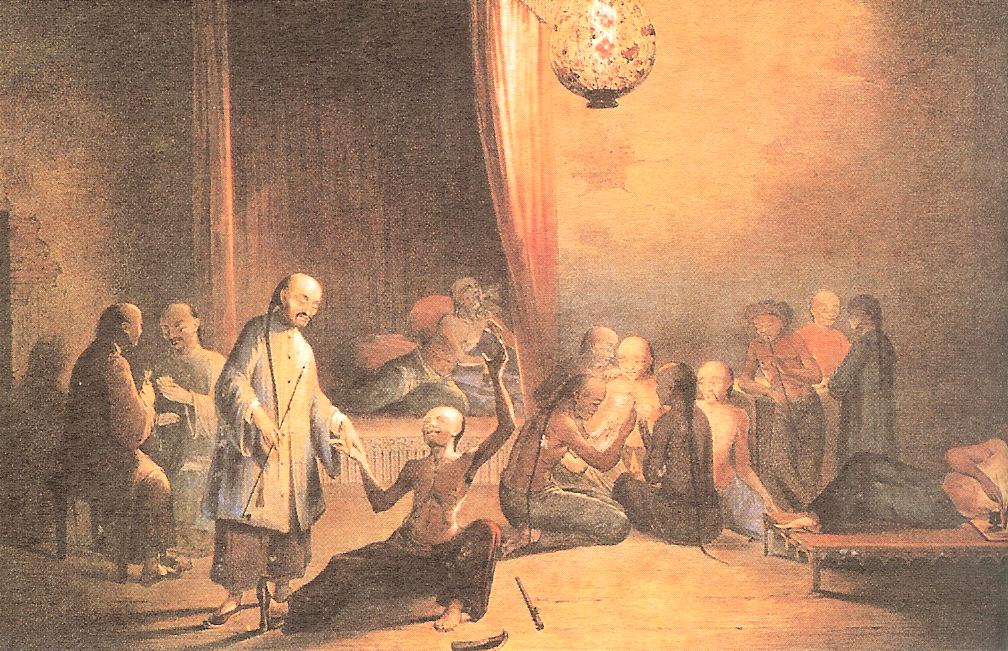 18世紀中國人服食鴉片圖。(公有領域)