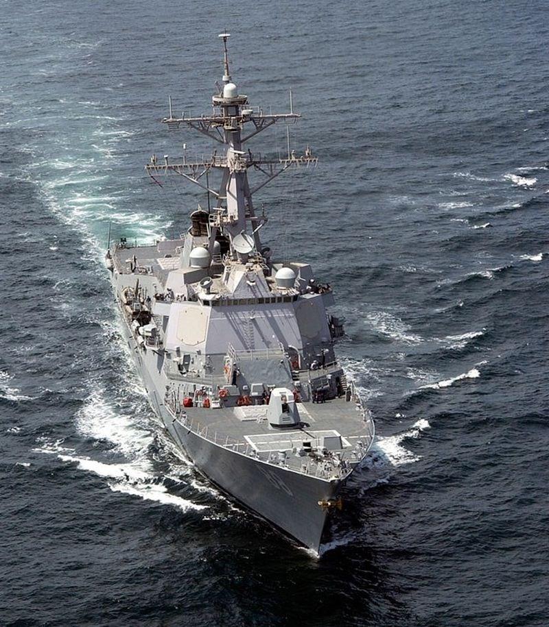 隨著中美貿易談判破裂,美國也加強了亞太地區軍事活動。圖為5月22日美軍驅逐艦普瑞布爾號航經台灣海峽。(維基共享資源網頁,版權屬公有領域)