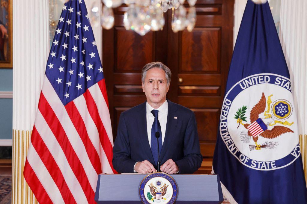 2021年8月30日,美國國務卿布林肯(Antony Blinken)宣布美軍已經全部撤出阿富汗,承諾將繼續協助仍然願意離開阿富汗的人。(Jonathan Ernst/POOL/AFP via Getty Images)