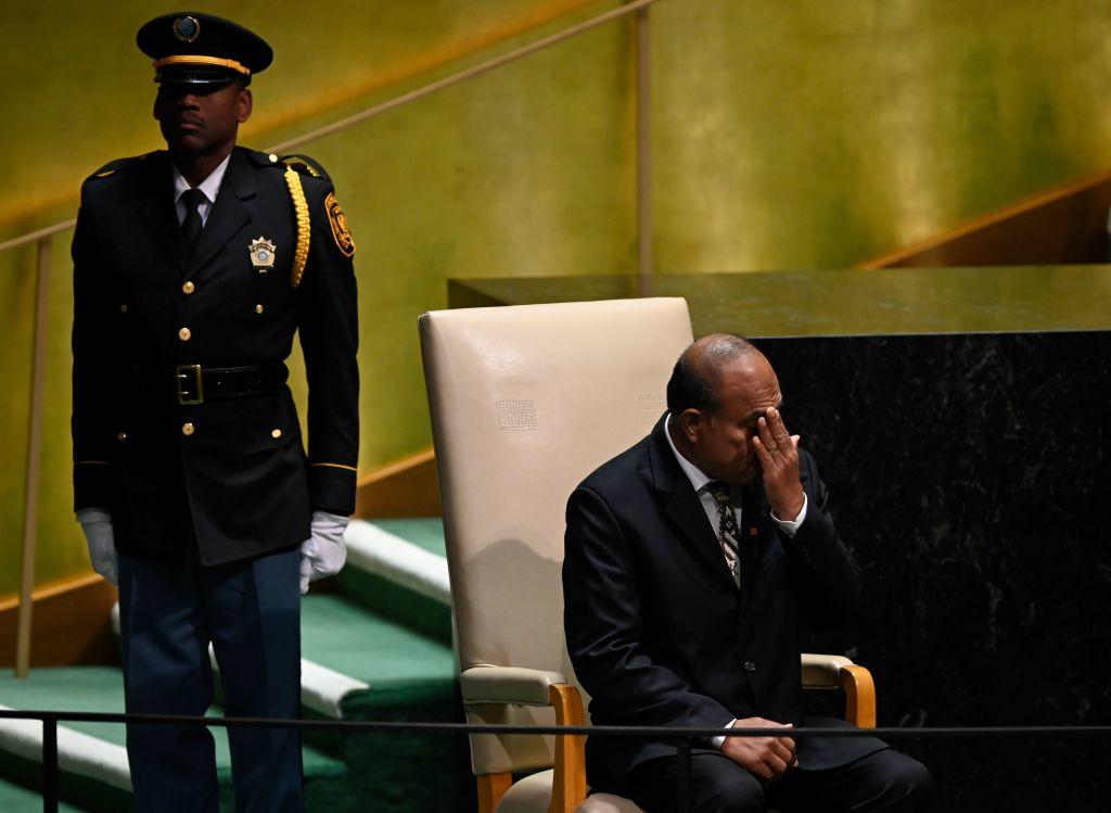 2019年9月基里巴斯宣佈與台灣正式斷交,倒向北京。圖為總統馬茂(Taneti Maamau)在2019年聯合國大會期間。(Johannes EISELE/AFP)