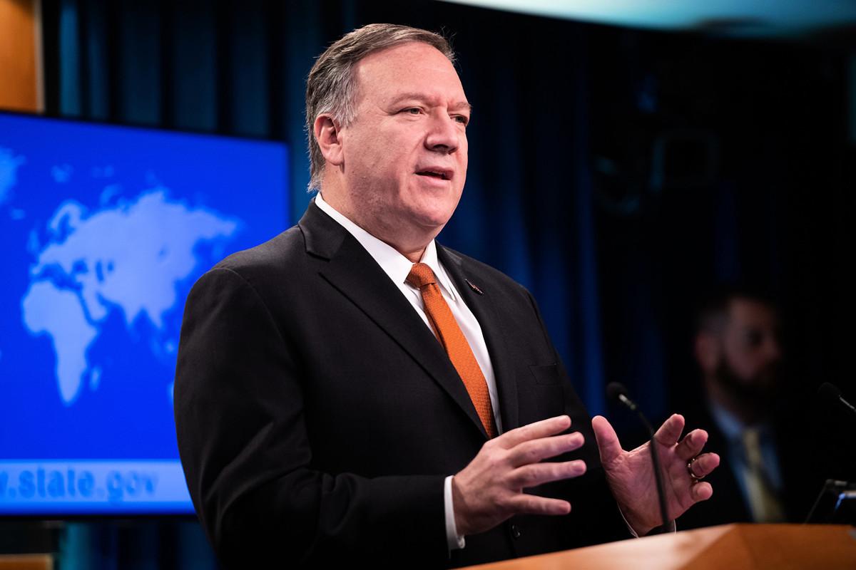 美國國務卿蓬佩奧(Mike Pompeo)於周二(11月26日)表示,最近洩露的文件證實,中共正在對維吾爾族穆斯林和其他少數群體進行大規模拘留,這是嚴重的侵犯人權行為。 (SAUL LOEB/AFP)