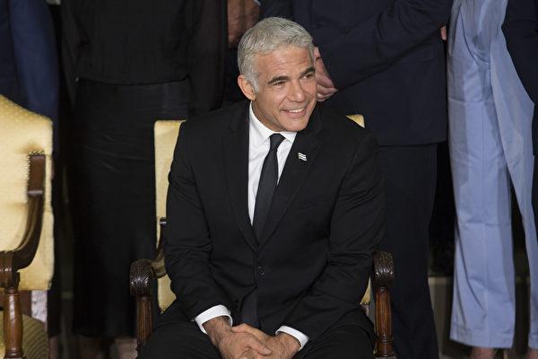 2021年6月14日,以色列候補總理兼外交部長亞伊爾‧拉皮德(Yair Lapid)在總統官邸。(Amir Levy/Getty Images)