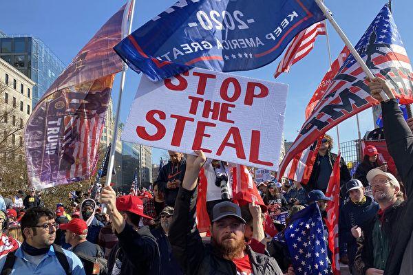 2020美國大選舞弊嚴重,支持特朗普的民眾舉行「反竊選」集會。(施萍/大紀元)