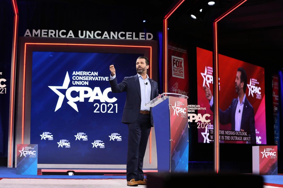 2021年2月26日下午,小唐·特朗普(Don Trump)在CPAC會議上發言:重新點亮美國夢的精神。(Joe Raedle/Getty Images)