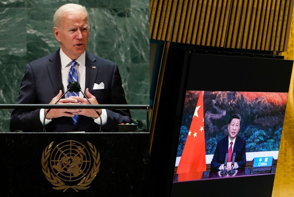 9月21日,拜登親自前往聯合國大會演講,習近平通過影片發表講話,兩人實際公開交鋒。(Mary Altaffer - Pool/Getty Images,Eduardo Munoz-Pool/Getty Images,大紀元合成)
