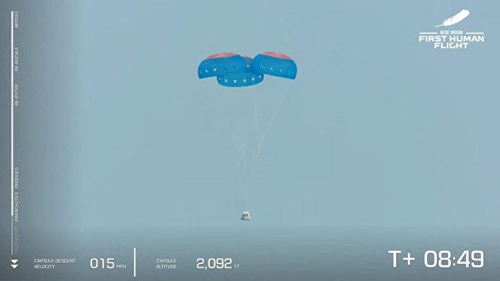 這張來自藍色起源公司的圖片顯示,2021年7月20日,該公司可重複使用的新謝潑德(New Shepard)飛船從太空返回,即將在德薩斯州的範霍恩(Van Horn)軟著陸。——藍色起源公司首次載人任務是從德薩斯州西部起飛,達到65英里(106公里)的高度後返回地面。來回飛行時間持續11分鐘。這一天是阿波羅11號人首次登月52周年。(Handout / BLUE ORIGIN / AFP)