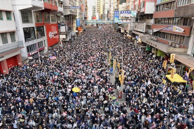 2019年12月8日,香港民陣發起「國際人權日」集會大遊行。遊行至銅鑼灣軒尼詩道。(宋碧龍/大紀元)