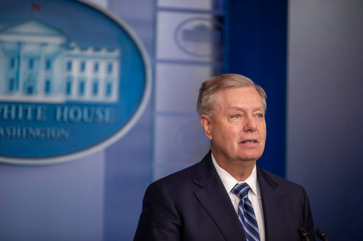 圖為美國參議員林賽·格雷厄姆(Lindsey Graham)。(Tasos Katopodis/Getty Images)
