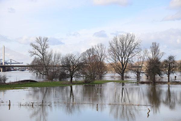 2021年2月4日,德國波恩(Bonn),融雪和持續降雨造成萊茵河氾濫,沿岸草地部份遭水淹沒。(Andreas Rentz/Getty Images)