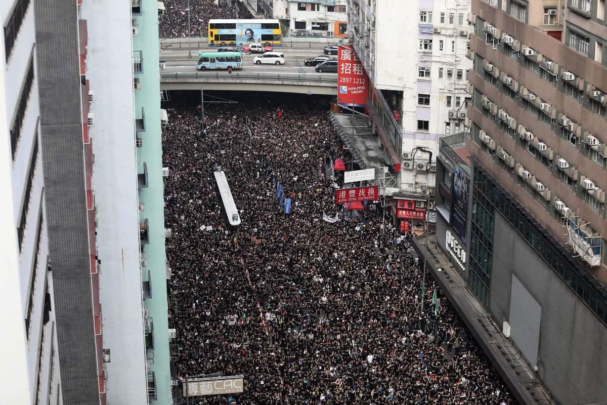 圖為香港反送中大遊行。(DALE DE LA REY/AFP/Getty Images)