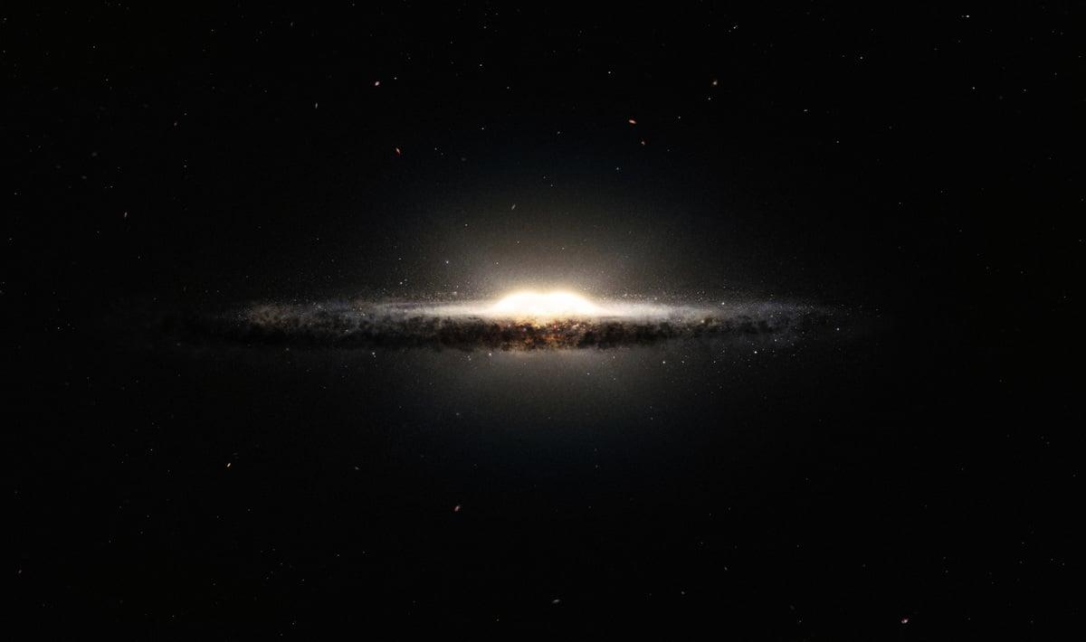 銀河系側面藝術設想圖。其中心的明亮凸起主要由同一次大量新星誕生而形成。(ESO/NASA/JPL-Caltech/M. Kornmesser/R. Hurt)